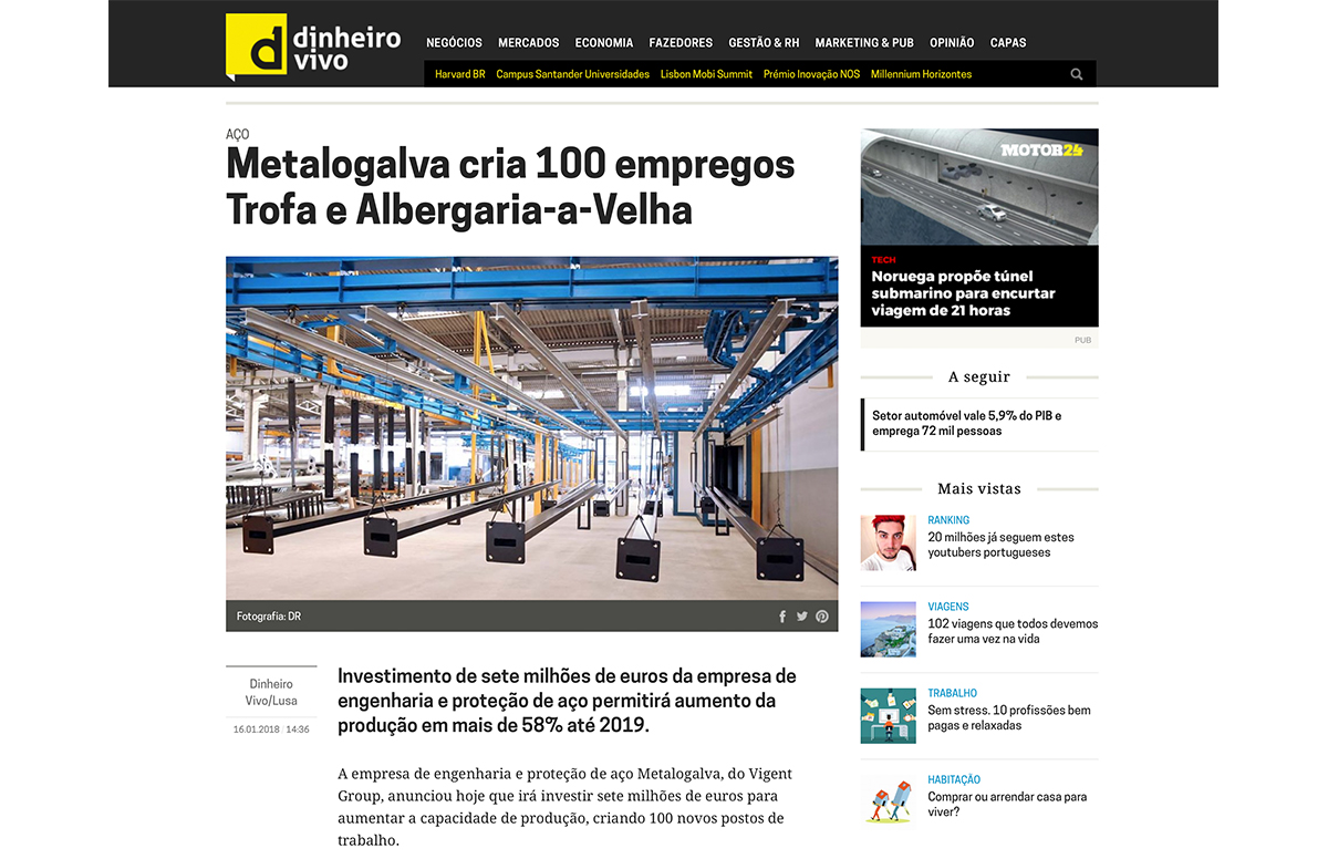 Metalogalva cria 100 empregos Trofa e Albergaria-a-Velha – Dinheiro Vivo