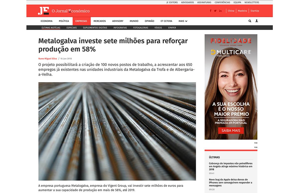 Metalogalva investe sete milhões para reforçar produção em 58% – Jornal Económico
