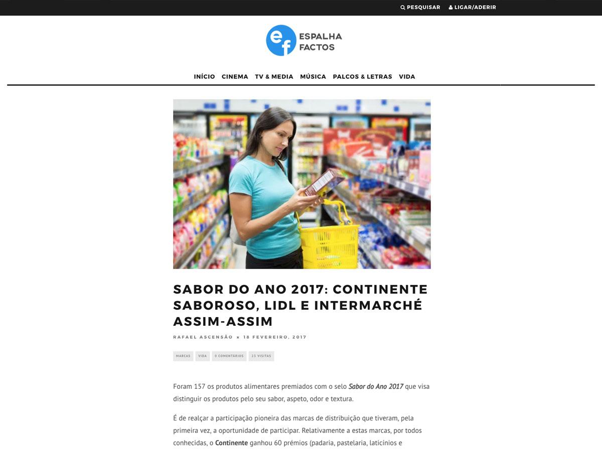 Sabor do Ano 2017: Continente saboroso, Lidl e Intermarché assim-assim – Espalhafactos