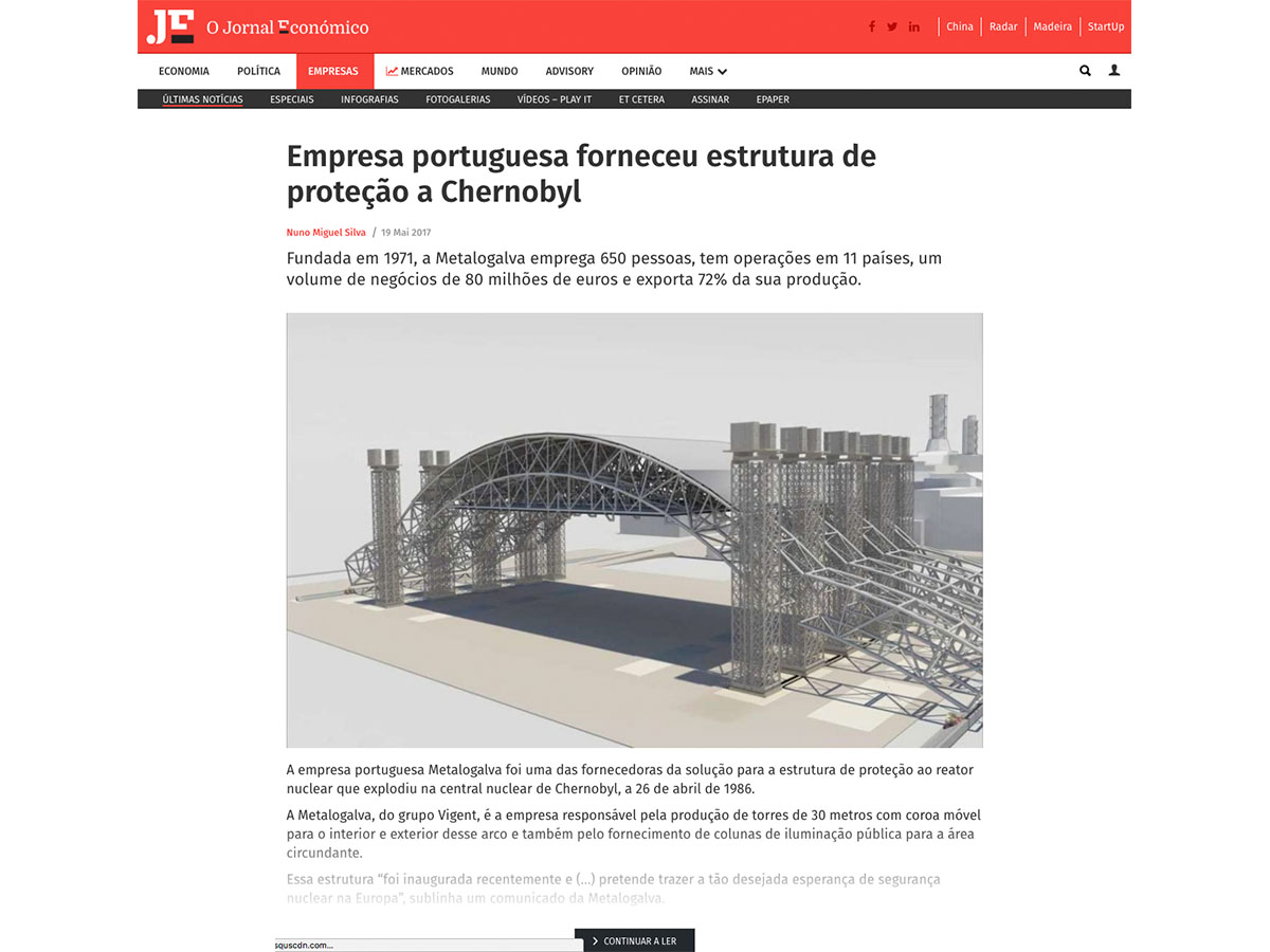 Empresa portuguesa forneceu estrutura de proteção a Chernobyl – O Jornal Económico