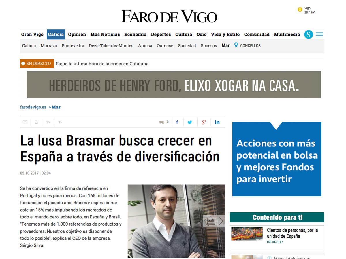 La lusa Brasmar busca crecer en España a través de diversificación – Faro de Vigo