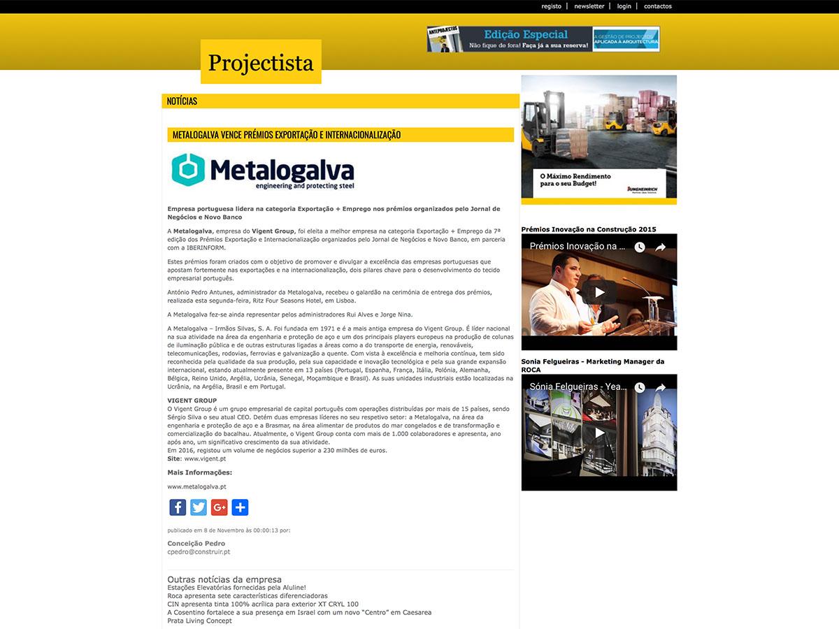 Metalogalva vence prémios exportação e internacionalização – Projectista