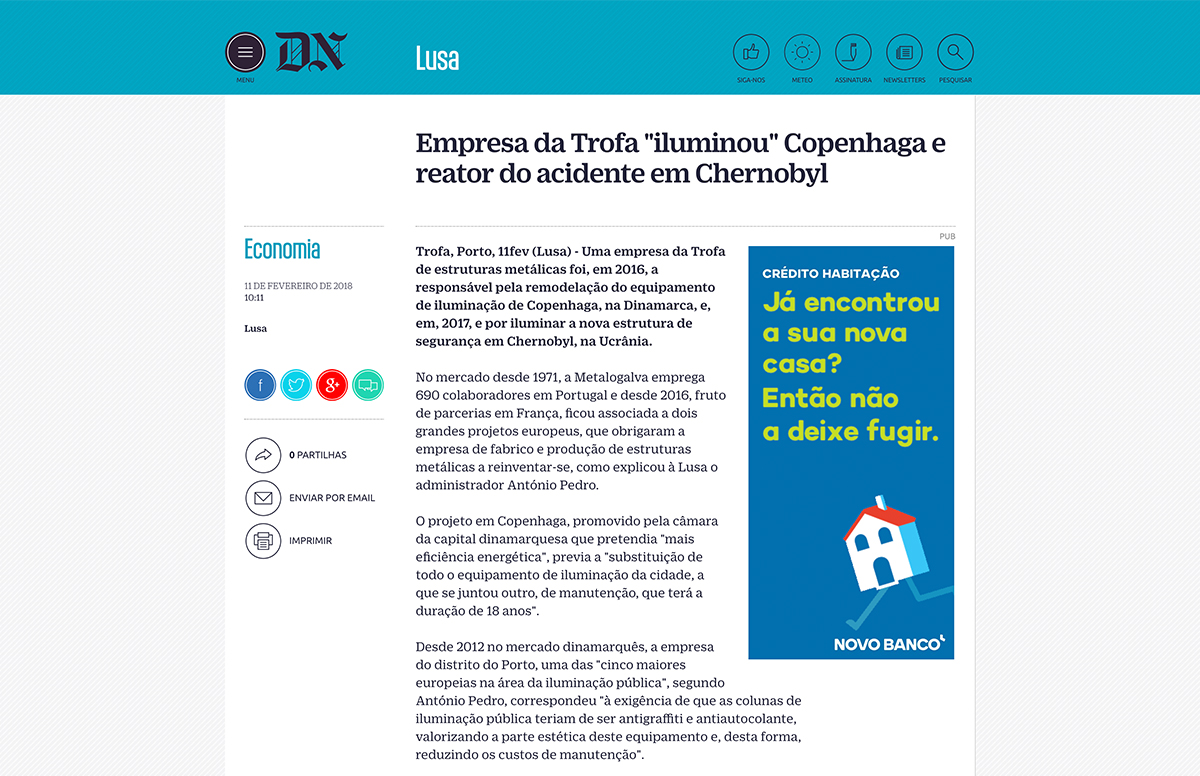 """Empresa da Trofa """"iluminou"""" Copenhaga e reator do acidente em Chernobyl – Diário de Notícias"""