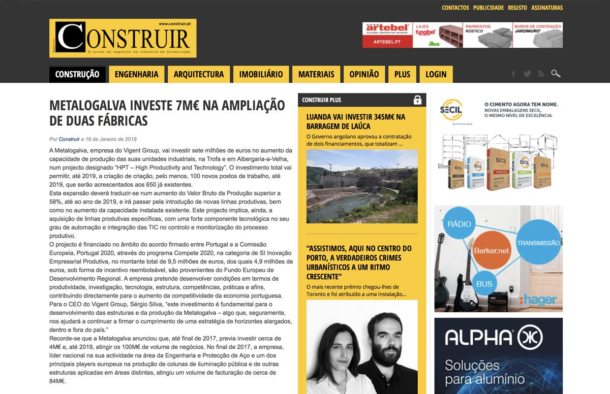 Metalogalva investe 7M€ na ampliação de duas fábricas – Construir