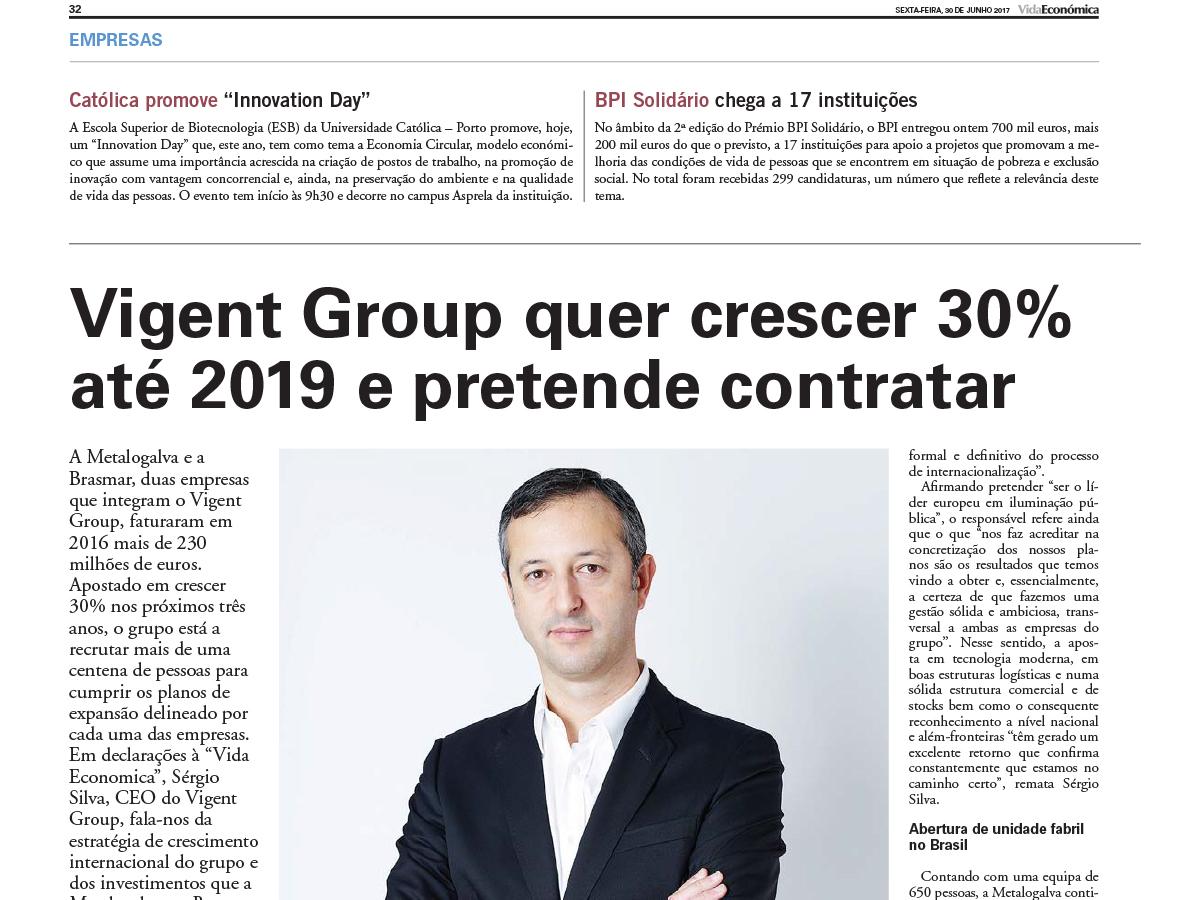 Vigent Group quer crescer 30% até 2019 e pretende contratar – Vida Económica