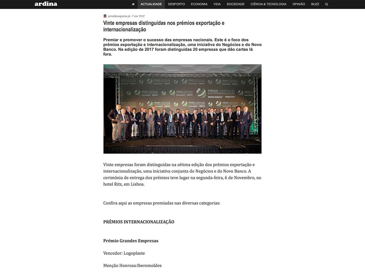 Vinte empresas distinguidas nos prémios exportação e internacionalização