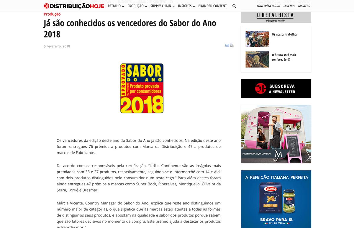 Já são conhecidos os vencedores do Sabor do Ano 2018 – Distribuição Hoje