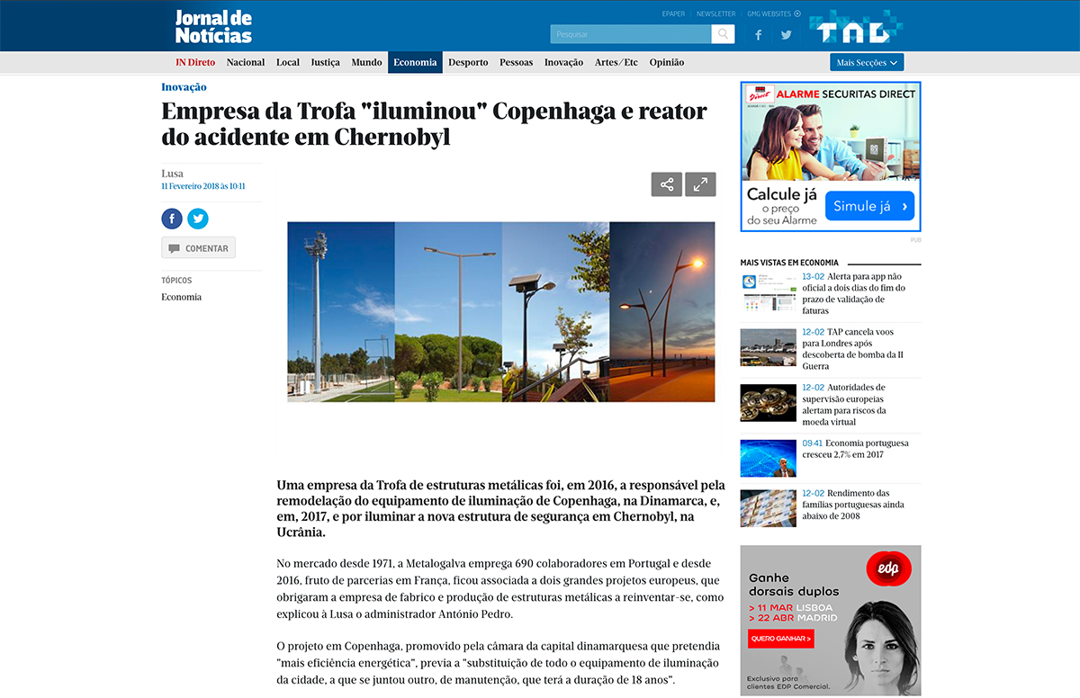 """Empresa da Trofa """"iluminou"""" Copenhaga e reator do acidente em Chernobyl – Jornal de Notícias"""