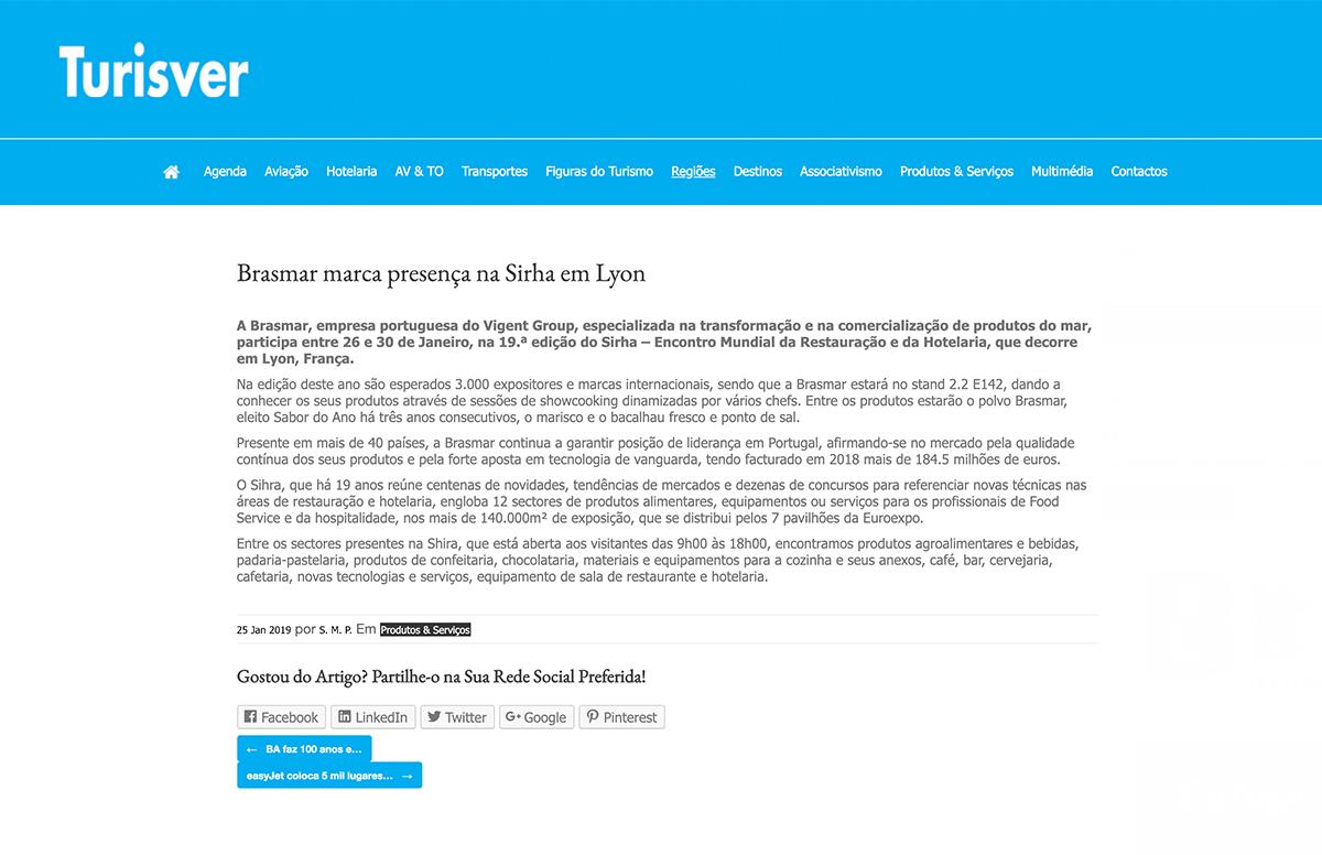 Brasmar marca presença na Sirha em Lyon – Turisver