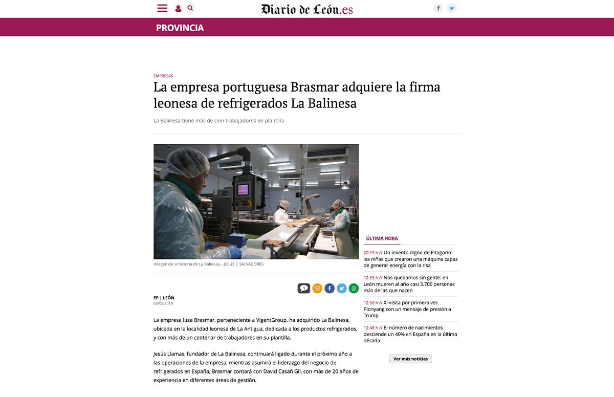 La empresa portuguesa Brasmar adquiere la firma leonesa de refrigerados La Balinesa – Diario de Leon