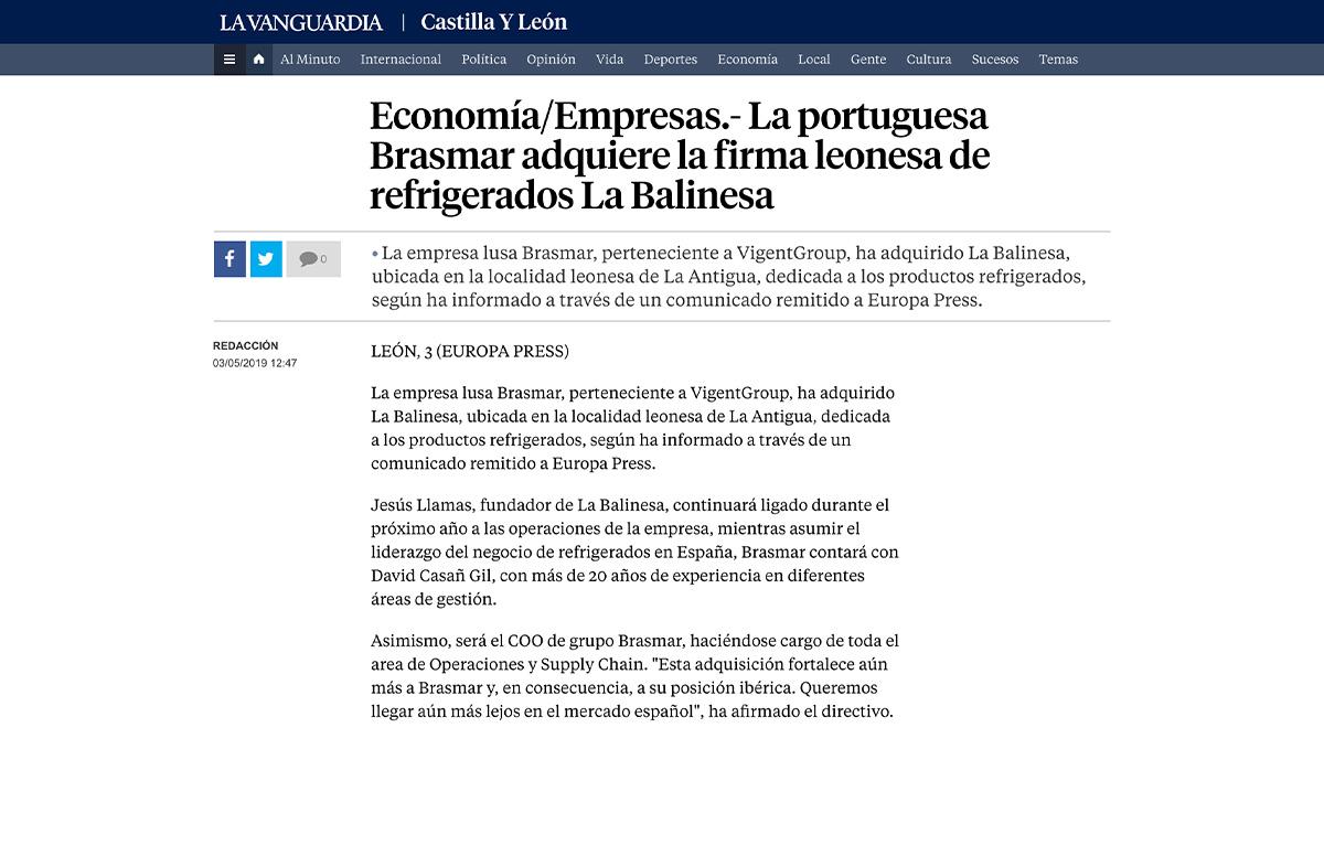 La portuguesa Brasmar adquiere la firma leonesa de refrigerados La Balinesa – La Vanguardia