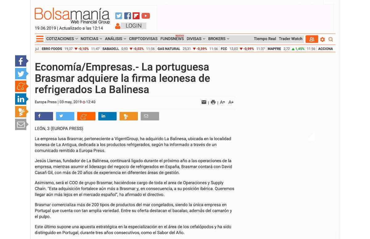 La portuguesa Brasmar adquiere la firma leonesa de refrigerados La Balinesa – Bolsamanía